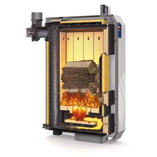 Das Bild zeigt den Feuerungsprozess unterer Abrrand beim NMT-Holzvergaserkessel HVG IV.
